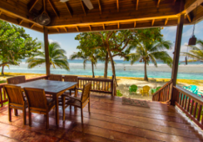 Views and breezes from the deck out to the Caribbean Sea.