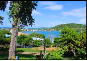 View of Calabash Bight out to sea from the deck.